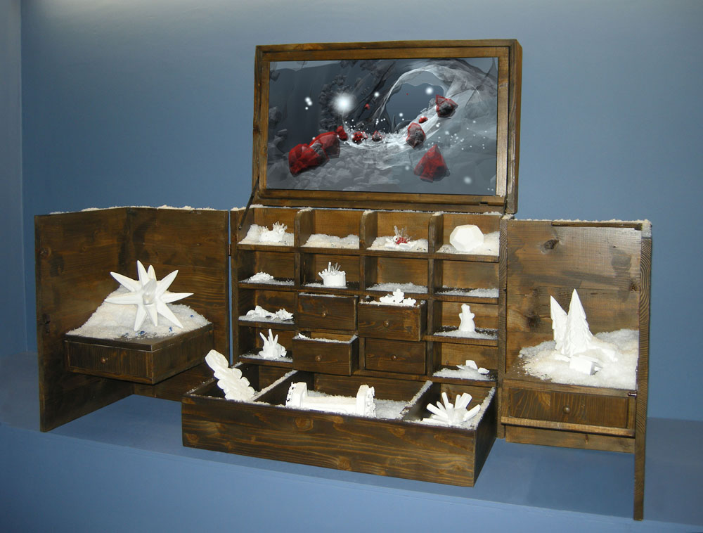 Cabinet de la neige, 2014, 3D animation, wood, clay and acrylic paint with crystal powders, monitor,76 x 65 x 50 cm