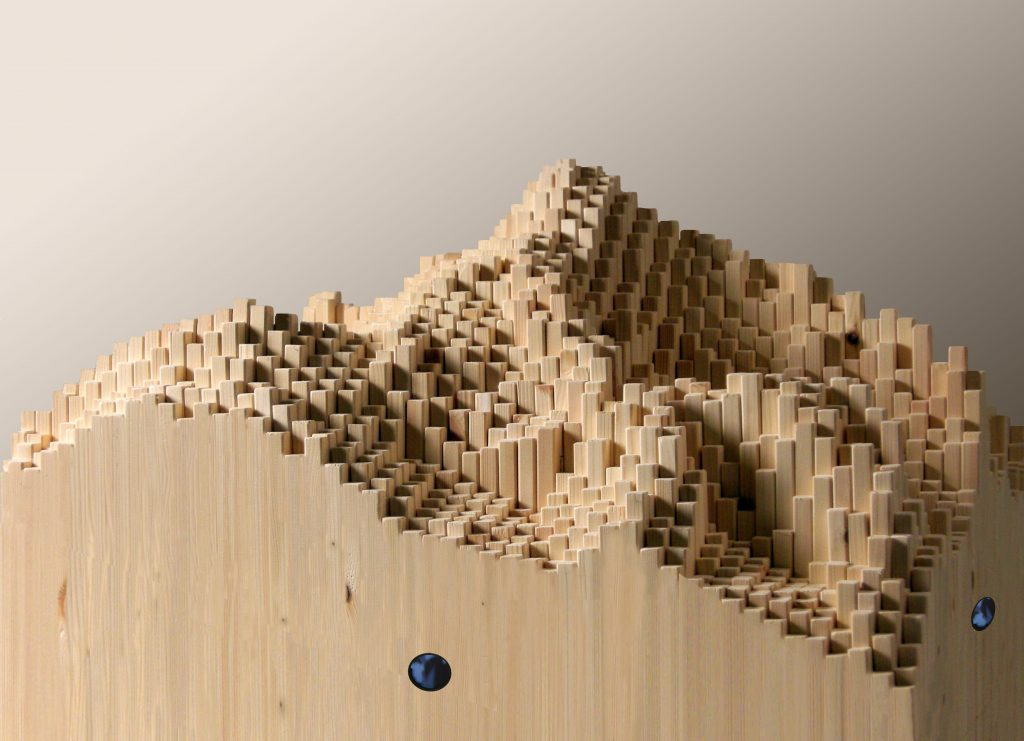 Les Manteillons du Mont Blanc (detail), 2014, wood, 3D video animation, 165 x 75 x 75 cm (foto Pier Francesco Grizi)