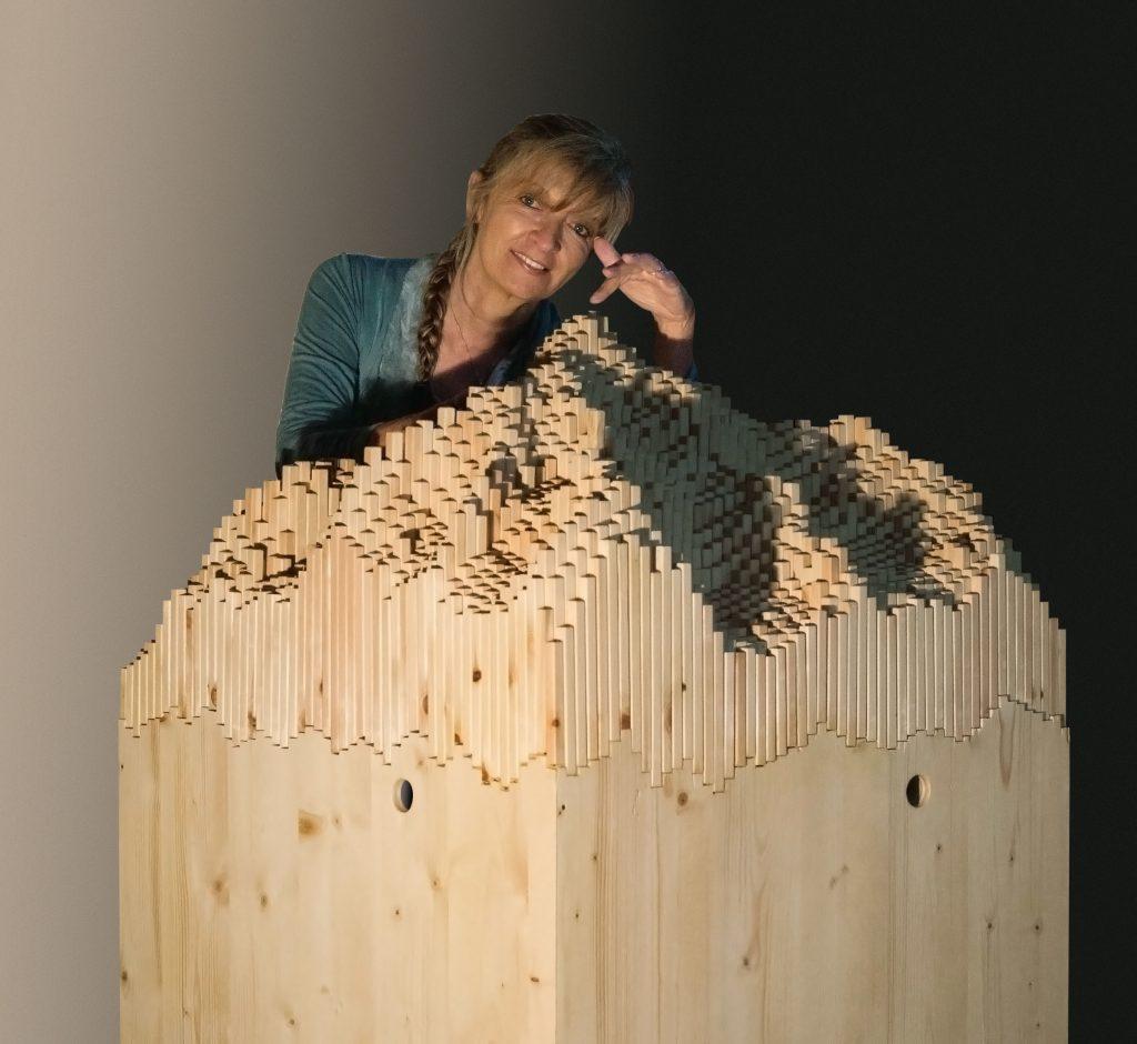 Les Manteillons du Mont Blanc, 2014, legno, 3D video animazione, 165 x 75 x 75 cm, veduta dell'installazione,, Mont Blanc, Les Maisons de Judith, Pra Sec, Val Ferret, Courmayeur, 2014 (foto Paolo Terrile)