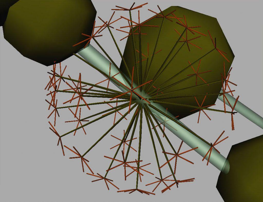 Senza titolo I (Nanoparticles and dandelion clock), 2009, stampa digitale  e acrilico su carta cotone, 35 x 45 cm