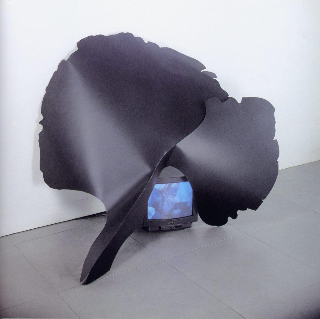 Infiorescenza Temporale, 1993, ferro, monitor, 150 x 140 cm (foto Ernani Orcorte)