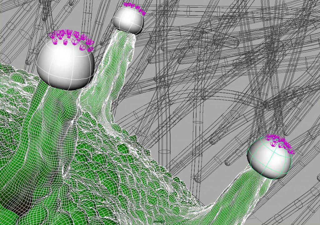 Senza titolo VIII (Nanomushroom), 2009, stampa digitale  e acrilico su carta cotone, 28 x 50 cm