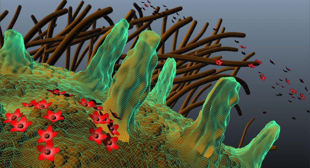 Senza titolo X (Nanomushroom), 2012, stampa digitale  e acrilico su carta cotone, 38 x 70 cm