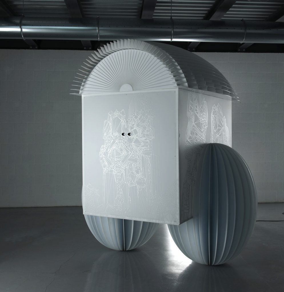 Mobilis in mobili, 2011, plasma screen, plexiglass, iron, screen printing, 3D animation, 235 x 210 x 160 cm