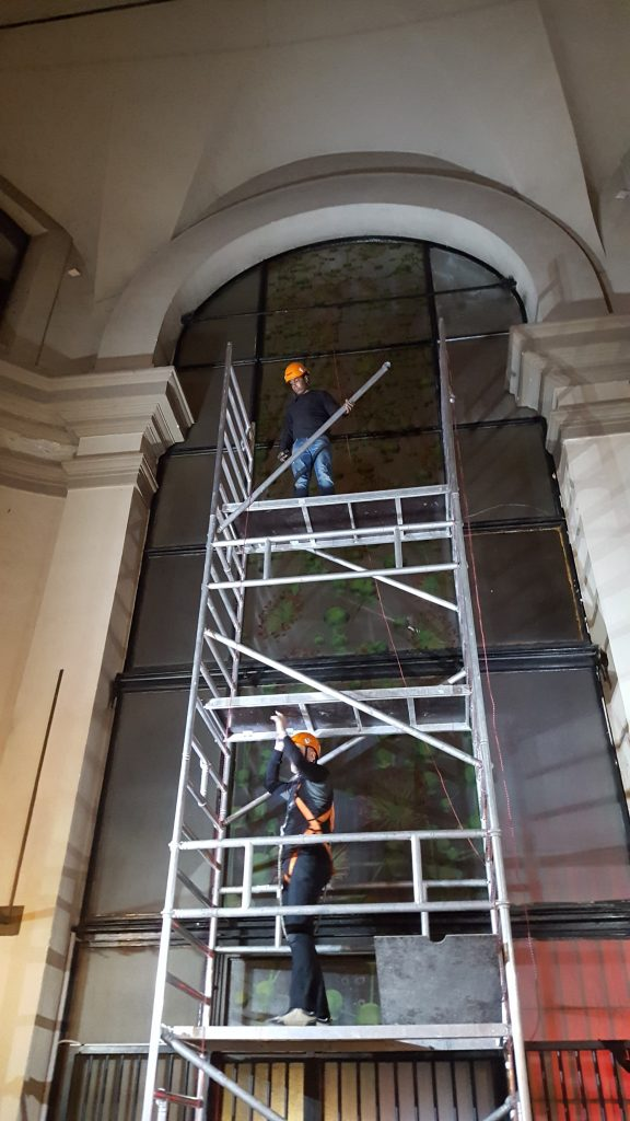 Realization of the stained glass window I tigli del parco (La grammatica delle forme) on the occasion of the exhibition Giuliana Cunéaz. La grammatica delle forme, Studio Museo Francesco Messina, Milan, 2017