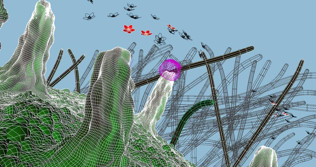 Senza titolo I (Nanomushroom), 2008, stampa digitale  e acrilico su carta cotone, 23 x 45 cm