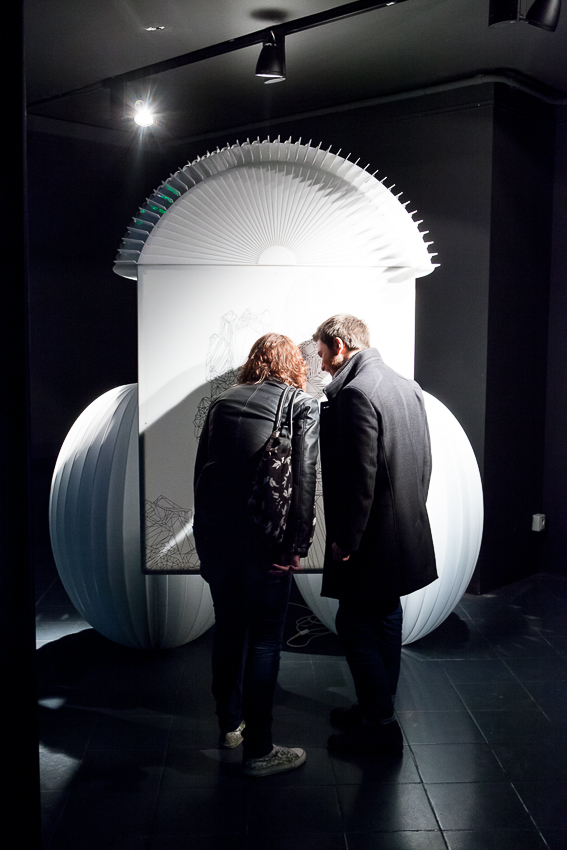 Mobilis in mobili, 2011, plasma screen, plexiglass, iron, screen printing, 3D animation, 235 x 210 x 160 cm, Mazda Con-temporary Space, Milan, 2013 (photo Marco Curatolo)