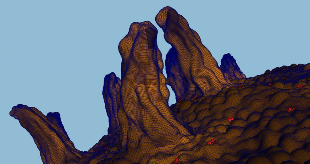 Senza titolo V (Nanomushroom), 2008, stampa digitale  e acrilico su carta cotone, 23 x 45 cm