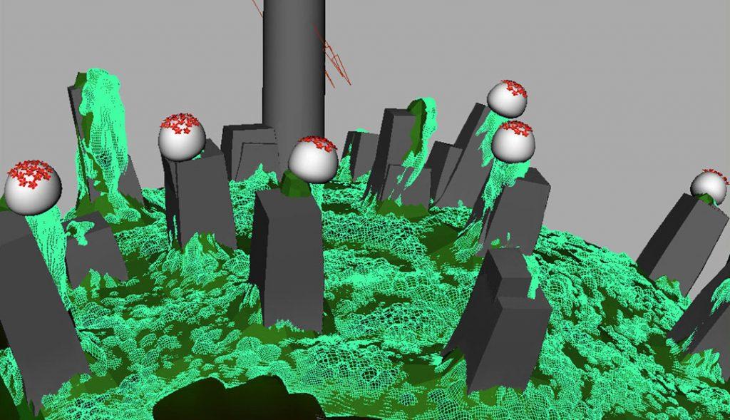 Senza titolo VII (Nanomushroom), 2009, stampa digitale  e acrilico su carta cotone, 28 x 50 cm