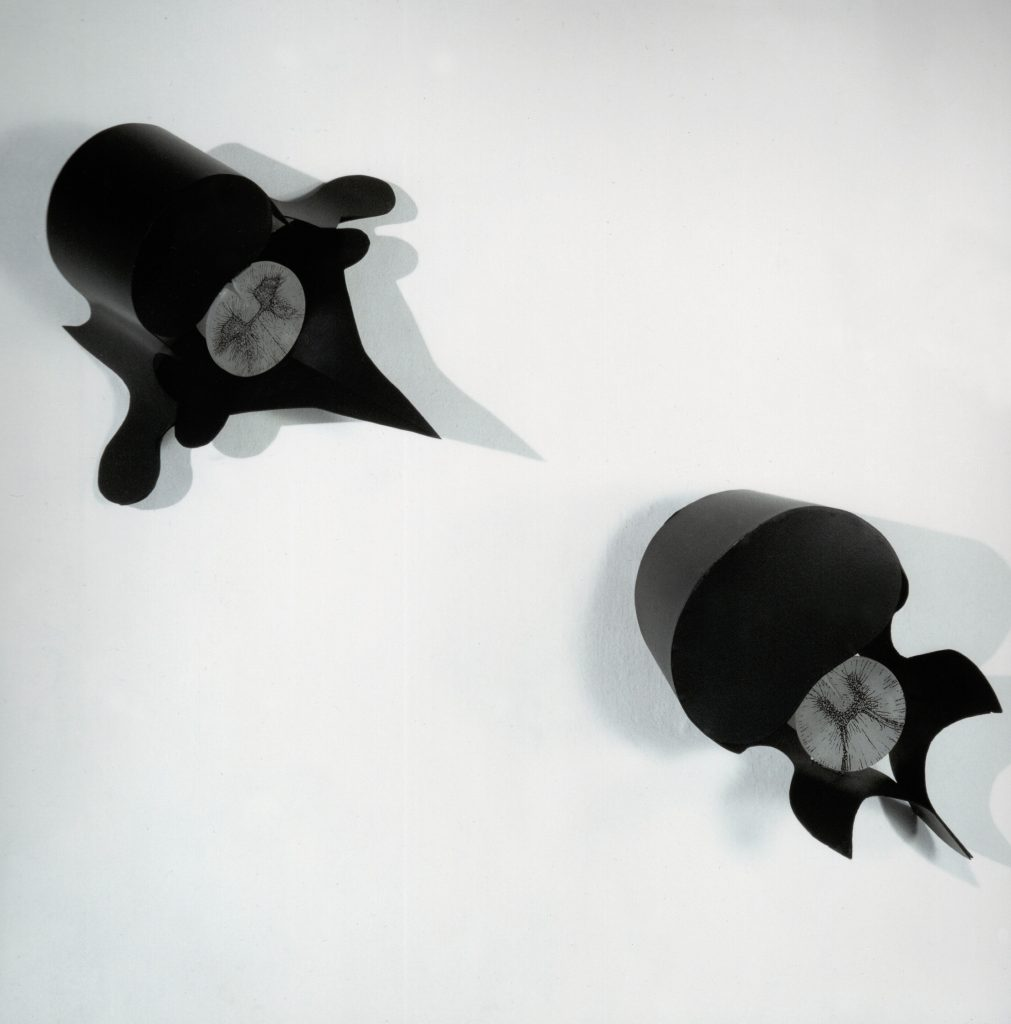 Amenti di Vertebre, 1992, iron, alabaster, ink for serigraphy, 35 x 45 cm, each (photo Ernani Orcorte)