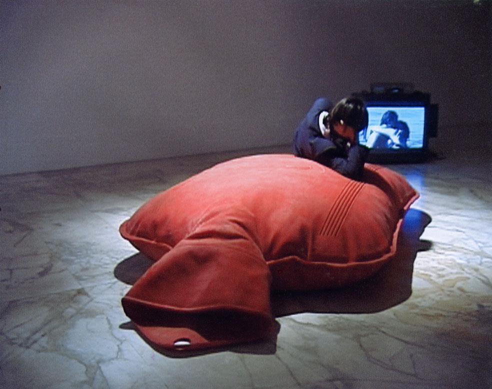 Biostory, 2000, videoinstallazione, boule in gommapiuma e lattice, proiettore, DVD, amplificatori