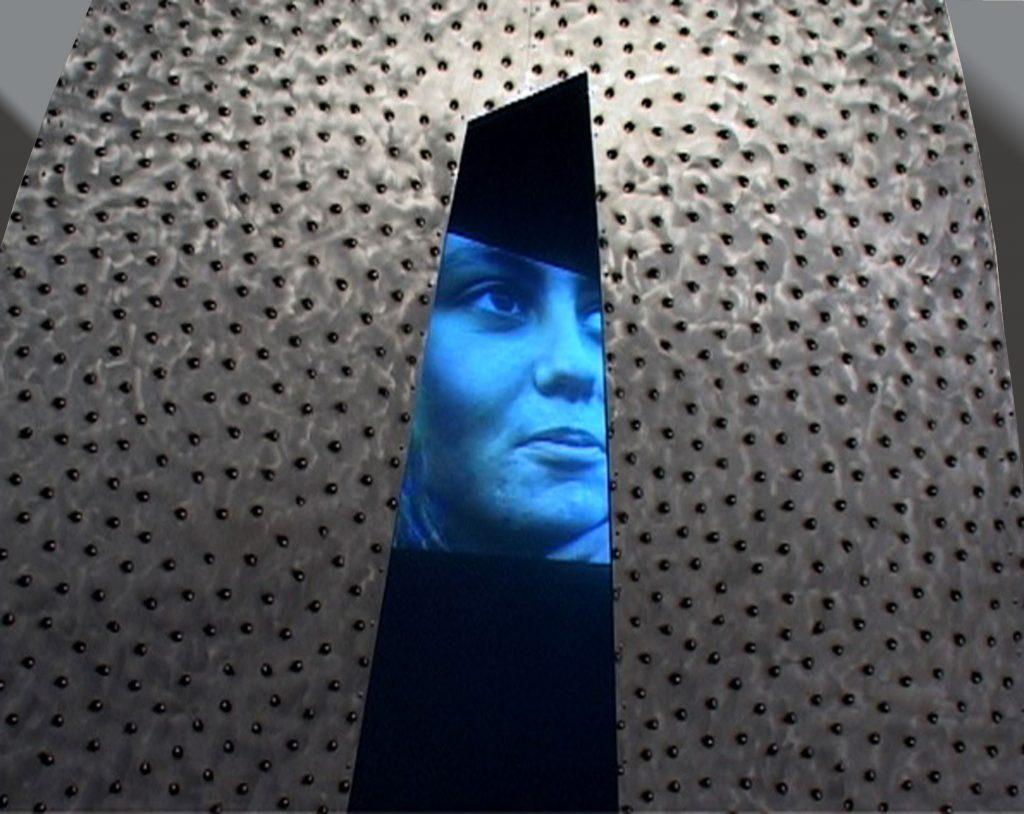 Punkabbestia, 2003, metal, video projector, DVD, amplifiers, 255 x 300 x 220 cm, installation view, XIV Quadriennale di Roma Anteprima, Palazzo della Promotrice delle Belle Arti di Torino , 2004  (detail)