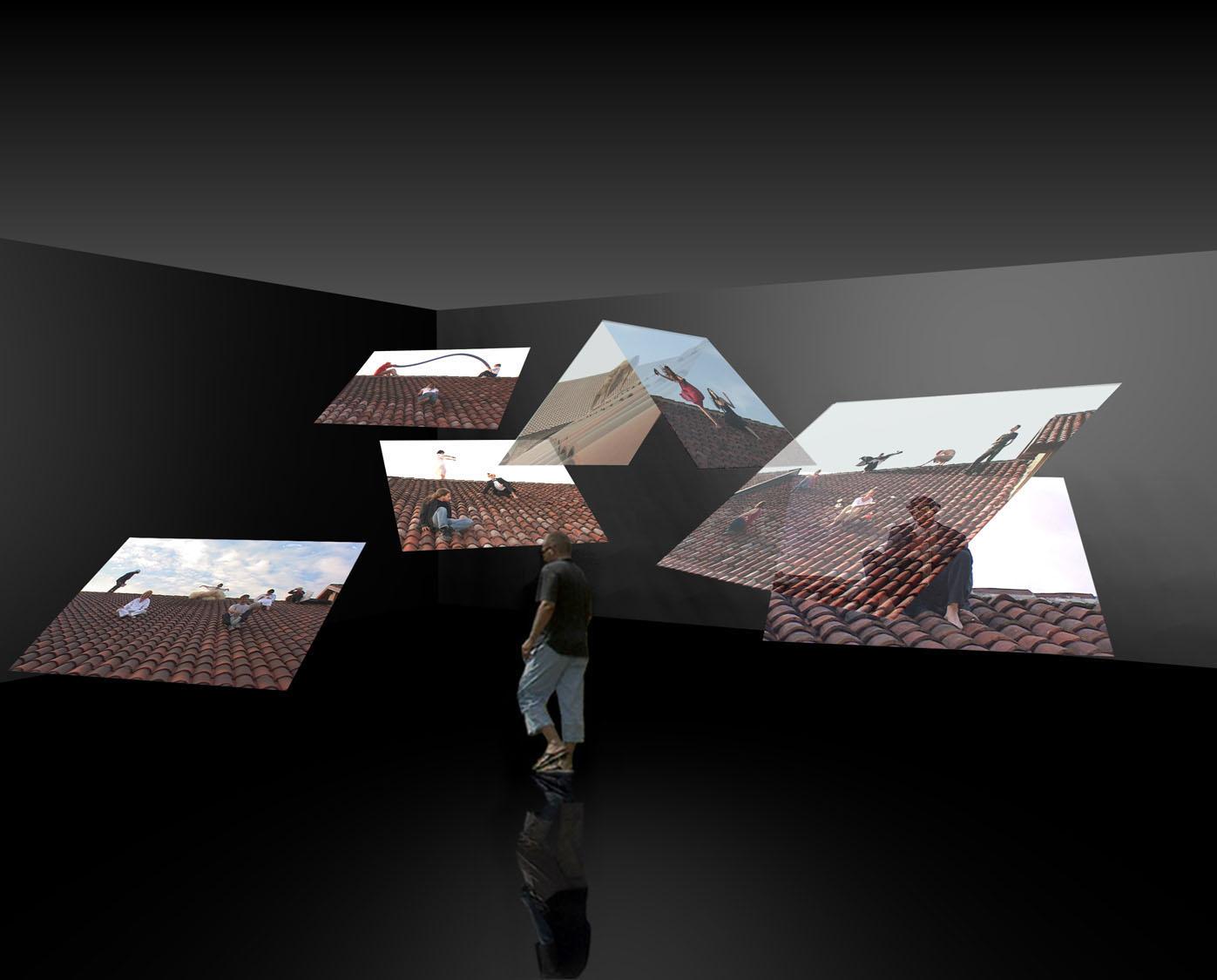 Zona Franca, 2004, videoinstallazione, n. 7 schermi, n. 7 videoproiettori, 1 stazione digitale, amplificatori