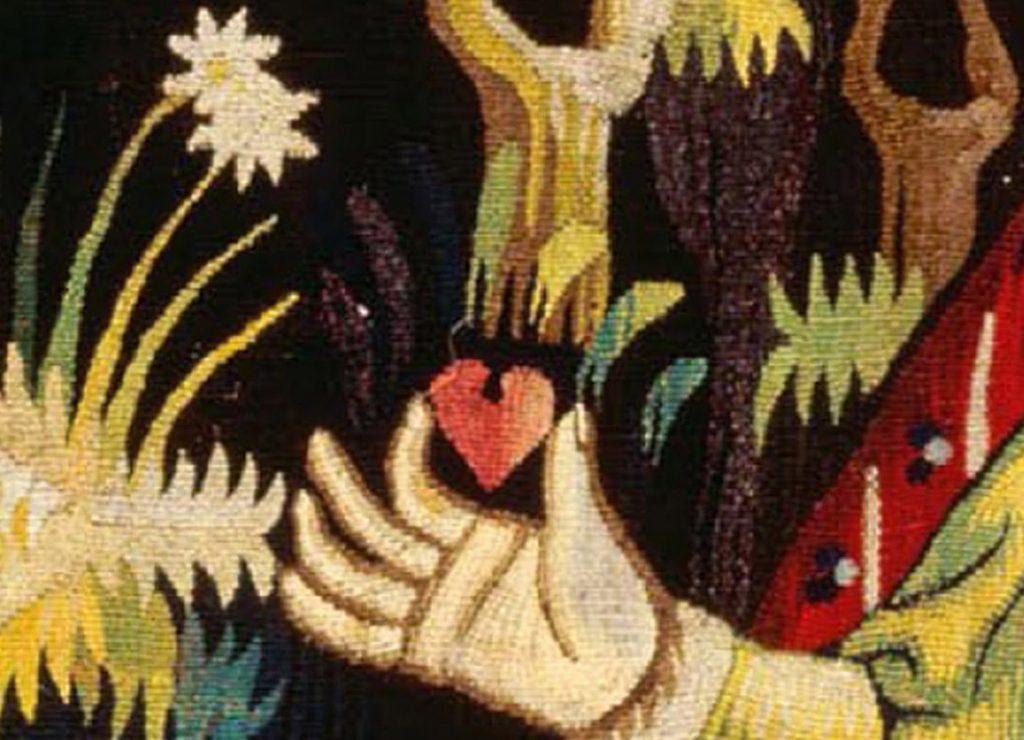 Anonimo, L'Offrande du Cœur,1400-1410, tapestry (detail)
