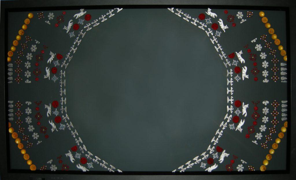 The God Particle, particolare della pittura su schermo al plasma