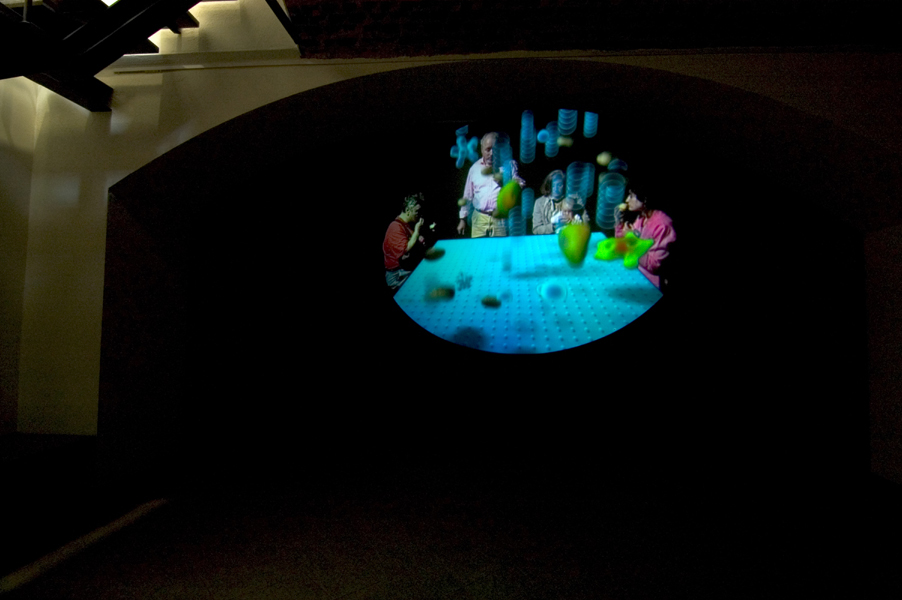 I Mangiatori di Patate, 2005, oval rear projection screen, projector, DVD, amplifiers