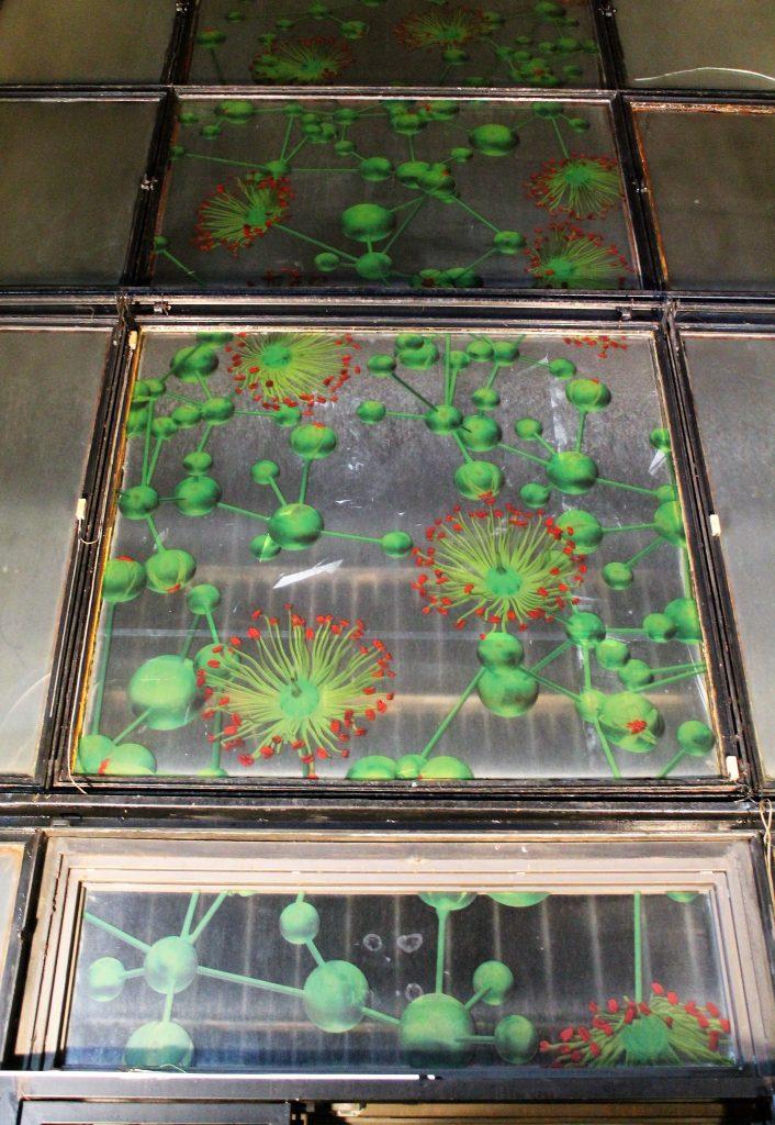 I tigli del parco (La grammatica delle forme), detail, 2017, view of the stained glass window, Giuliana Cunéaz. La grammatica delle forme, Studio Museo Francesco Messina, Milan, 2017
