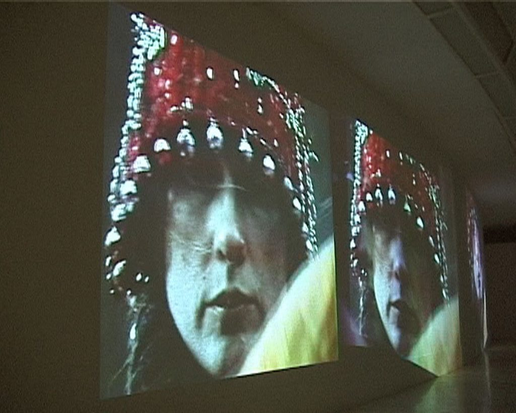 Riti Sciamanici, 2000, n. 3 videoproiettori, n. 2 lenti prismatiche, stazione digitale, amplificatori, veduta dell'installazione, Museo Laboratorio di Arte Contemporanea Università La Sapienza, Roma, 2001