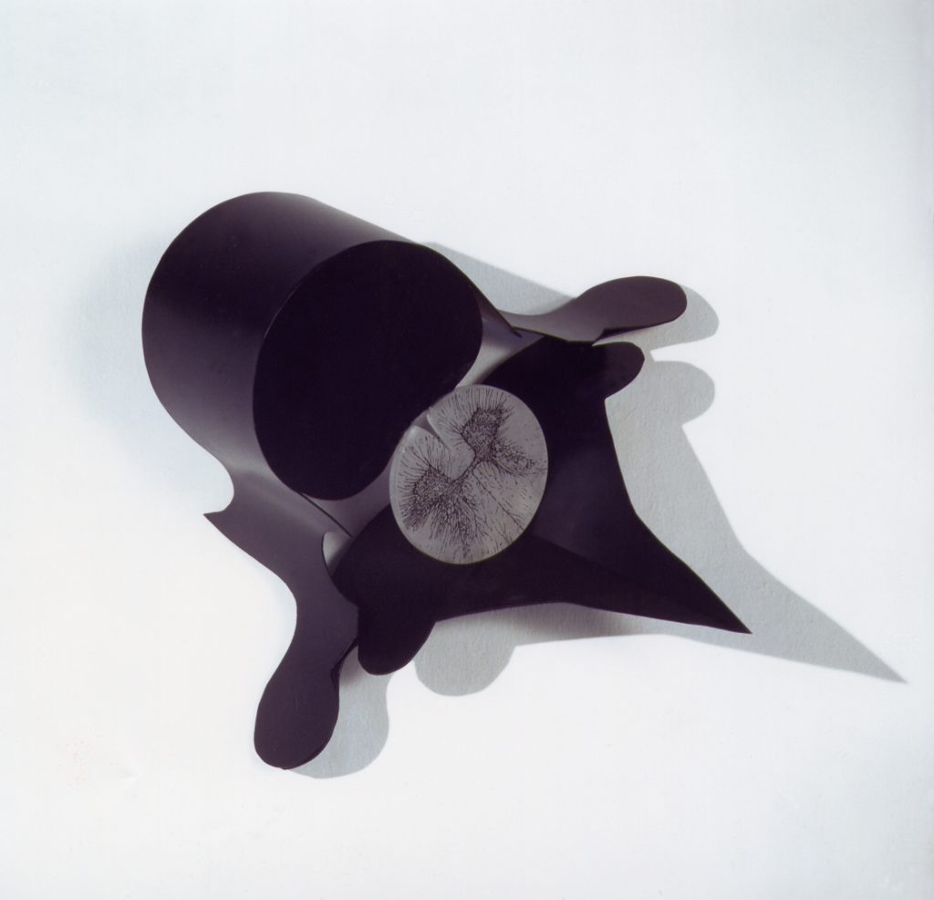 Amenti di Vertebre, 1992, iron, alabaster, ink for serigraphy, 35 x 45 cm (photo Ernani Orcorte)
