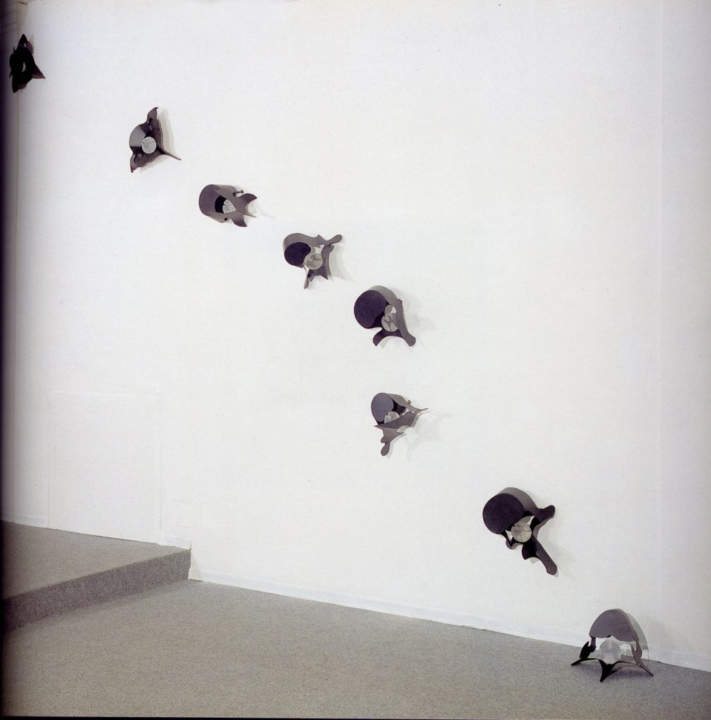 Amenti di Vertebre, 1992, iron, alabaster, screen printing ink, 35 x 45 cm, each (photo Ernani Orcorte)