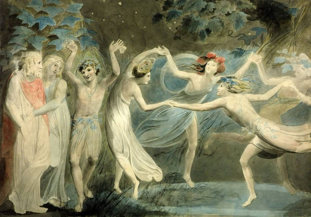 William Blake, 1786, Oberon,Titania and Puck with Fairies Dancing Fate