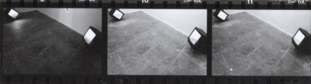 Lucciole, 1991, 5 monitors, 5 VHS, installation view, Forte di Bard, Aosta, 1991 (detail)