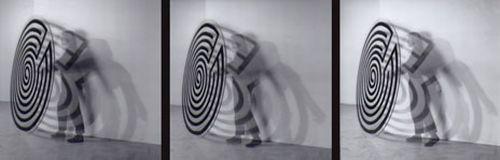 Labirinti, 1990, plexiglass disc, black enamel, diameter 180 cm