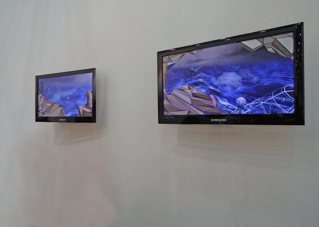 Storm between the rocks I e II (Waterproof), 2011, (screen painting), 27,5 x 48,5 cm ciascuno, veduta dell'installazione, Gagliardi Art System, Arte Fiera, Bologna, 2011